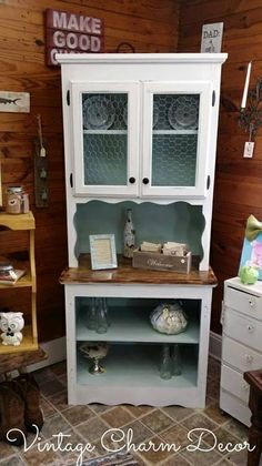 Vintage Gallery Charm Decor Antique Wardrobe Makeover Love The Pop Of Yellow Inside Furniture Makeovers Pinterest