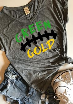 Green and Gold football SVG PDF PNG Dxf Design