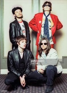 Welsh rock group Manic Street Preachers, London, 1993. Clockwise from top left: James Dean Bradfield, Nicky Wire, Sean Moore and Richey Edwards (1967 - 1995).