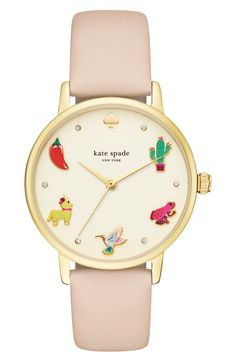 kate spade new york metro novelty leather strap watch, 34mm
