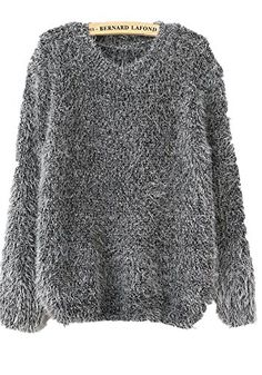 Friendshop Women Casual Shaggy Mohair Long Sleeve Loose Grey Pullover Sweater