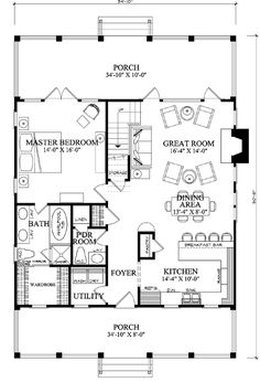 First Floor Plan of Cottage Country Farmhouse House Plan I would flip the plan and have the great room and master bedroom in the front of the house. I think I would remove the pantry and have it all open, too. The Plan, How To Plan, Cottage Plan, Cottage Homes, Small House Plans, House Floor Plans, One Bedroom House Plans, Dog Trot House Plans, Two Bedroom Tiny House