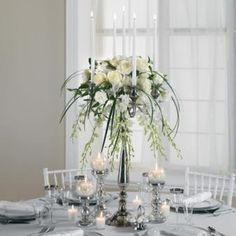 Gorgeous 31 Perfect Winter Wedding Centerpieces Ideas To Try This Day Candelabra Wedding Centerpieces, Candelabra Flowers, Flower Centerpieces, Centrepieces, Winter Wedding Receptions, Winter Wedding Flowers, Wedding Table, Wedding Book, Wedding Ideas