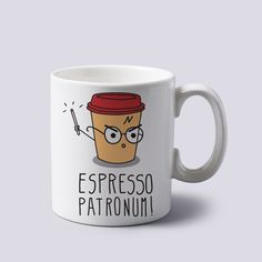 Amazon.com | Espresso Patronum Harry Potter Funny Cartoon Mug Cup Two Sides 11 Oz Ceramics: Coffee Cups & Mugs