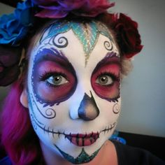 Sugar skull by Enchanted Brush www.enchanted-brush.co.uk #facepainting #halloween #sugarskull #dayofthedead #eldiadelosmuertos
