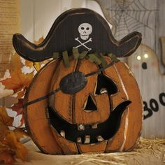 Our Pirate Wooden Jack-O-Lantern is the perfect combination of spooky and fun, just what you need for Halloween!