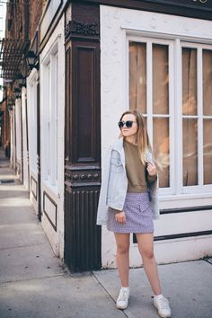 olive denim gingham thrifting outfit of the day, ootd, street style, fall fashion, lifestyle blog, nyc blogger, fashion blogger, college blogger