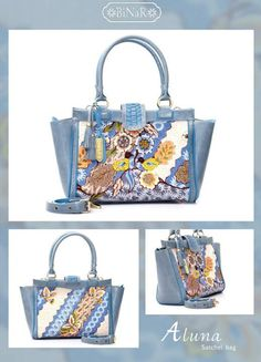Aluna, batik's bag. Hokosan Burung Biru Bluis Grey+Blue Mill Cow Leather