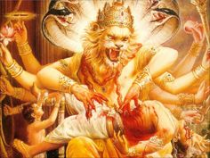 Lord Narsingh killing the demon