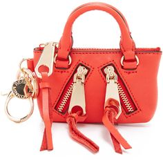 Rebecca Minkoff Moto Satchel Coin Purse featuring polyvore, women's fashion, bags, wallets, poppy red, leather satchel handbags, rebecca minkoff wallet, coin purse wallets, change purse and genuine leather wallet