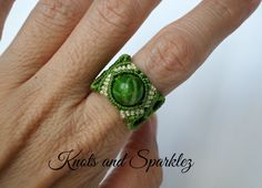 Hand made macrame ring, knotted ring, green jasper ring, turquoise jasper ring, macrame ring with stone, - pinned by pin4etsy.com