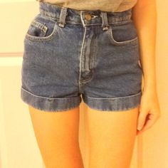 American apparel High waisted shorts Dark blue American Apparel High Waisted Shorts, only worn a few times and in great condition! American Apparel Shorts Jean Shorts