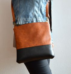 Colorblock crossbody bag / Handmade shoulder vegan leather bag / Simple crossbody purse