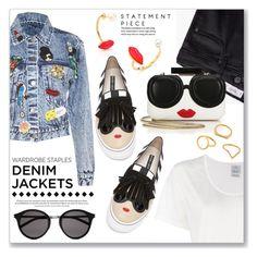 """Wardrobe Staple: Denim Jackets"" by dressedbyrose ❤ liked on Polyvore featuring Alice + Olivia, Delfina Delettrez, Visvim, MANGO, Yves Saint Laurent, Kenzo, denimjackets and WardrobeStaples"