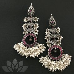 Silver Jewelry With Diamonds Product Indian Jewelry Earrings, Fancy Jewellery, Silver Jewellery Indian, Jewelry Design Earrings, Indian Wedding Jewelry, Gold Earrings Designs, Bead Jewellery, Stylish Jewelry, Silver Earrings