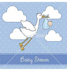 Baby shower stork by Giuseppe_R on VectorStock®
