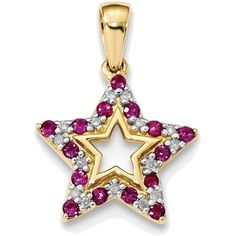 14K Yellow Gold Ruby & Diamond Star Pendant w/ Cutout Design ($309) ❤ liked on Polyvore featuring jewelry, pendants, 14k pendant, ruby pendant, gold pendant, yellow gold pendant and pendant jewelry