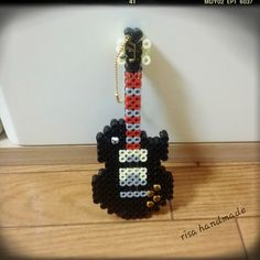Guitar keychain perler beads by risa
