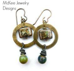 Mossy rain. Glass, metal simple earrings, hammered ring, dangle jewelry, McKee jewelry Designs, McKee jewelry