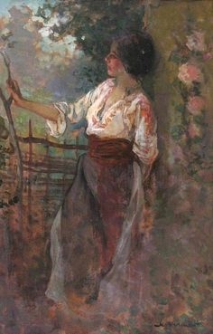 Romanian peasant woman painted by Nicolae Vermont (XIX century) Romanian Women, Gustave Courbet, Traditional Paintings, People Art, Woman Painting, Vermont, All Art, Art Images, Watercolor Paintings