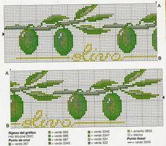 ♥Meus Gráficos De Ponto Cruz♥: Panos de Prato: Pimentas, Alhos e Azeitonas em Ponto Cruz
