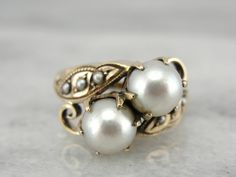 Antique Victorian Rose Gold Double Pearl Ring with Seed Pearl Accents on Etsy, $585.00