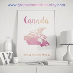Canada map Canada art Canada print Canada Printable map art State art Map Wall Decor room décor Country art print Pink Peach