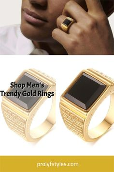 A great way to accessorize your outfit is with men's trendy rings. Embrace the new modern trend with our selection of trendy and stylish men's rings. We have both gold and silver rings available to choose from, so you're sure to find one that speaks to your personality. From a sleek gold ring, or an eye-catching silver ring, we have everything you need for any occasion. Make these men rings your go-to for a trendsetting, yet classic men's jewelry. Mens Gold Rings, Men Rings, Gold And Silver Rings, Black Rings, Gold Rings Online, Smart Ring, Stylish Rings, Stone Gold, Stainless Steel Rings