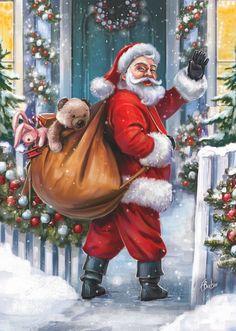 Leading Illustration & Publishing Agency based in London, New York & Marbella. Christmas Scenery, Father Christmas, Christmas Toys, Santa Christmas, Christmas Pictures, Vintage Christmas, Christmas Decorations, Xmas Holidays, Family Christmas