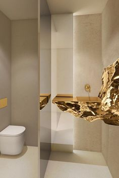 Opulent golden rock basin. For the person who has everything! @bathroom