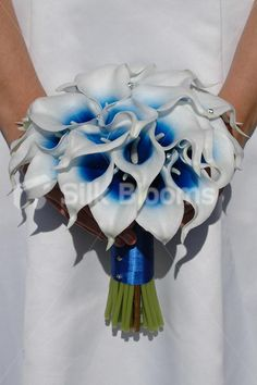 Royal Blue fresh cut Wedding Flowers | Details about Artificial Bridal Wedding Bouquet with Blue Centred ...