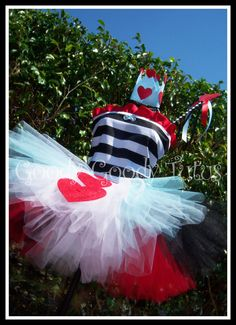 WONDERLAND SWEETHEART Queen of Hearts Inspired Tutu Set with BLUE Accents. $95.00, via Etsy.