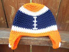 Custom - Crochet Football Hat - Pick Your Favorite NFL Team - Chicago Bears - Denver Broncos - Newborn through Adult sizes. $19.00, via Etsy.