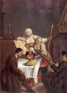 """Pietro Longhi - """"La polenta"""" - 1740 - Venezia, Ca' Rezzonico"""