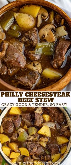 Philly Cheesesteak Beef Stew made with richly browned chuck roast in butter with onions, bell peppers and mushrooms in a rich beef gravy that simmers low and slow in the oven and has all the flavors of a Philly Cheesesteak excluding the Cheez Whiz! #stew #beef #soup #philly #phillycheesesteak #cheesesteak #dinner #comfortfood #dinnerthendessert