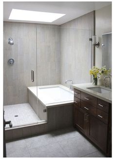 Bathroom Tub Shower, Small Bathroom With Shower, Bathroom Ideas, Bathroom Organization, Bathroom Remodeling, Remodel Bathroom, Simple Bathroom, Minimal Bathroom, Narrow Bathroom