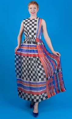 CHECKERBOARD MOD Vtg 60s Chiffon Maxi Stripe Party Dress M