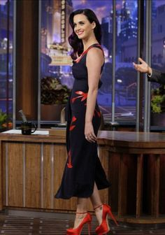 Katy Perry Wears Roland Mouret Navy Floral Dress   UpscaleHype