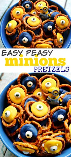 simple minions candy and pretzel snack mix