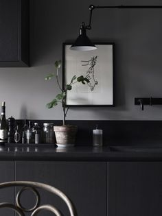 Black kitchen, dark
