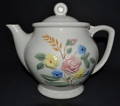 New to ChicMouseVintage on Etsy: Teapot Coffee Pot Porcelier Vitreous China w/ Drip Sleeve  - Raised Floral Design is Hard to Find! (65.00 USD)