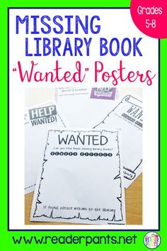 Do you have missing library books? Books that say they are available, but are actually nowhere to be found? Help is here! Place these Wanted posters around the library and play the PowerPoint on a loop to encourage everyone to keep their eyes open. #lib Library Book Displays, Library Books, Open Library, Library Ideas, Reading Display, Library Skills, Library Lessons, Library Activities, Library Games