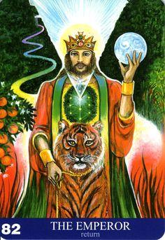 82 - L'empereur (retour) - New Aura Soma Tarot All Tarot Cards, Online Tarot, Tarot Meanings, Book Categories, Major Arcana, Visionary Art, Oracle Cards, Sacred Art, Fantasy