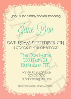 Bastion & Citadel: Shabby Chic Baby Shower Invite