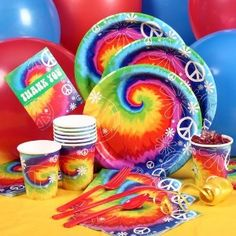 Tie Dye Party Supplies! Aren't these super awesome and perfect table settings for the tie dye wedding?
