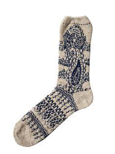 Sock | Paisley pattern | Blue and white | KAPITAL