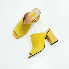 Add an edge to mules for a totally-now look in this suede pair. Featuring a peep-toe and high block heel. They are perfect to dress up with denim for day-to-night wear. #Topshop
