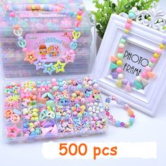 Beads Set Kids Adults Children Craft DIY Necklace Bracelets Colorful Acrylic Crafting Beads Kit Box with Accessories for Jewelry Making Toy Craft, Craft Gifts, Handmade Toys, Handmade Crafts, Handmade Beads, Kids Crafts, Decor Crafts, Diy Bracelets Kit, Bracelet Crafts