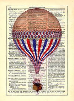 Three Color Victorian Air Balloon, Home, Nursery, Office Decor, Wedding Gift…