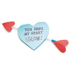"""Glow stick valentine - could also say """"you shine, valentine"""", or """"glowing with pride"""" for a congratulations"""